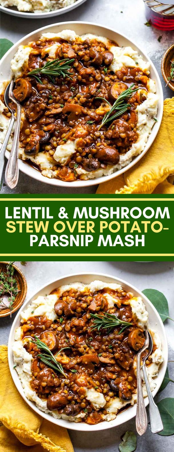 LENTIL AND MUSHROOM STEW OVER POTATO-PARSNIP MASH #vegetarian #dinner