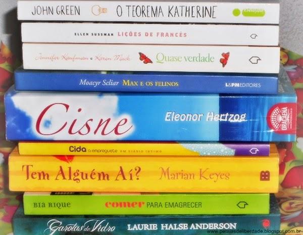 livro, garotas de vidro, tem alguém aí, comer para emagrecer, cida a empreguete, cisne, max e os felinos, quase verdade, lições de francês, o teorema katherine, verde, amarelo, azul, branco