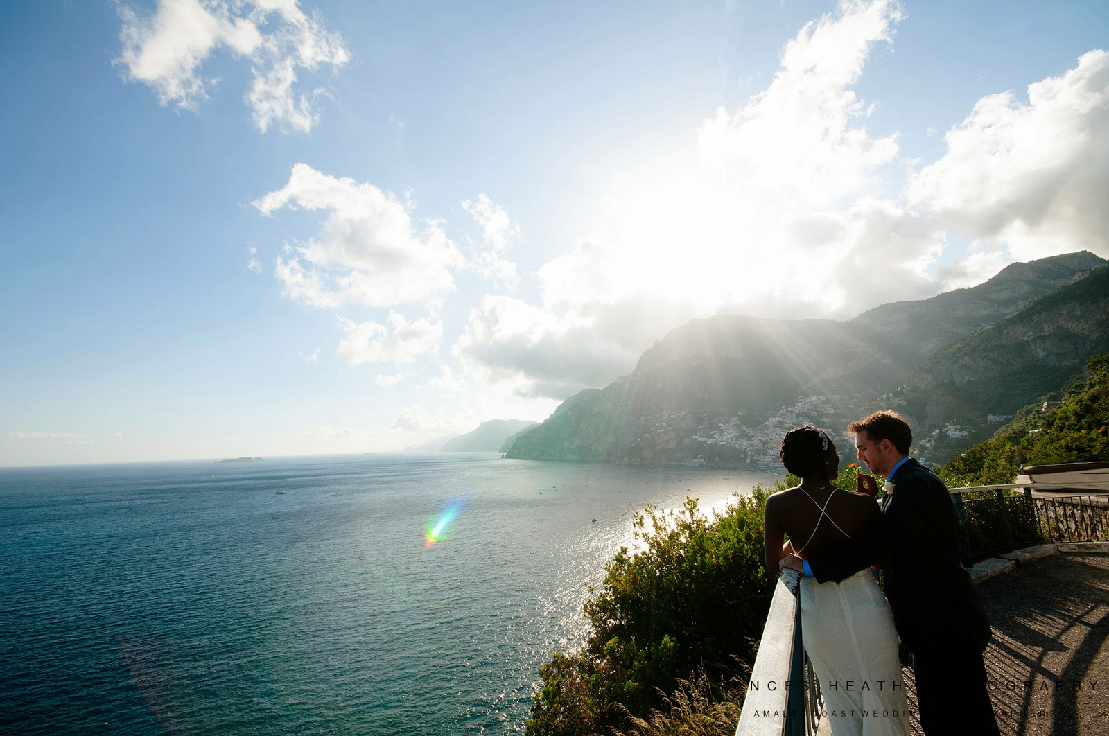 Bride and groom enjoying the view of the Amalfi Coast