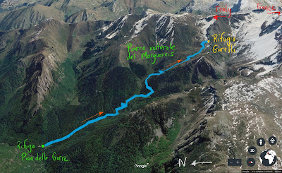 Route from Pian delle Gorre to Rifugio Garelli.