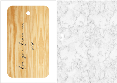 wood veneer tag + marble paper - ompak giftwrap urban collection by jurianne matter