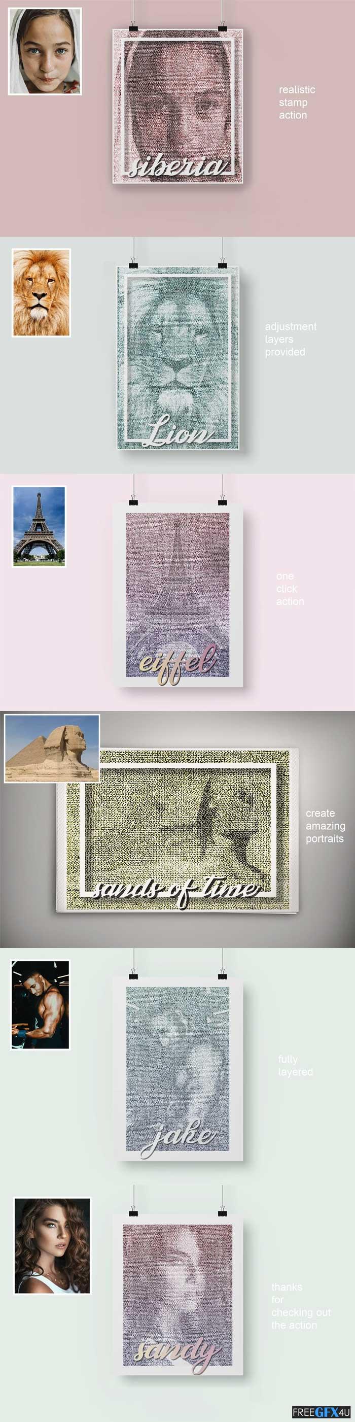 Stamp portrait Photoshop Action