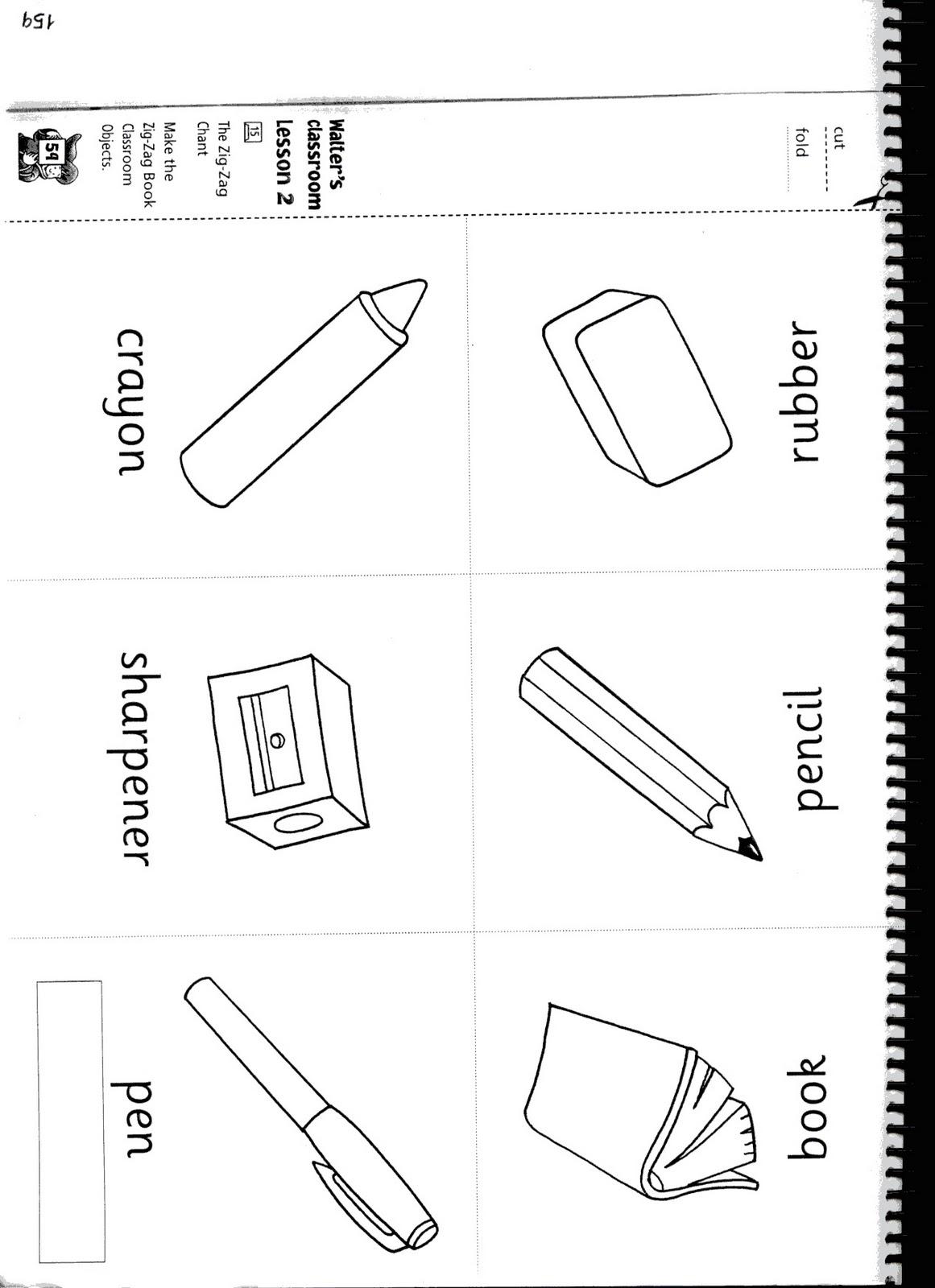 Fichas De Ingles Ficha Classroom 2 Color The Objets