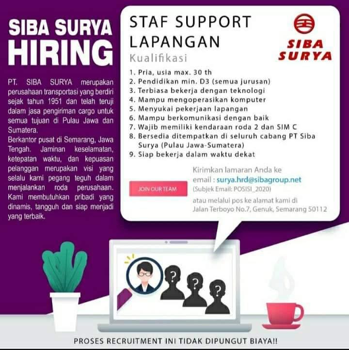 Loker Staff Support Lapangam di PT Siba Surya Semarang