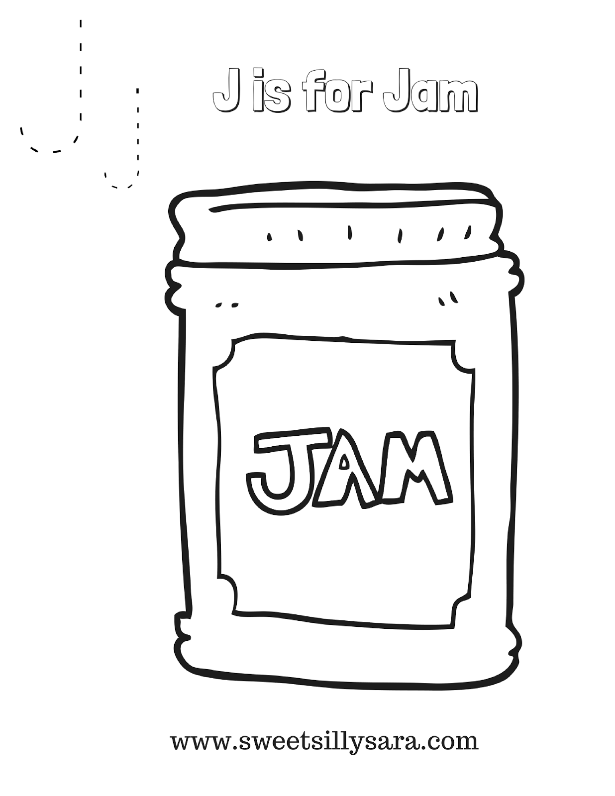 Crafting Reality With Sara J Is For Jam Coloring Page