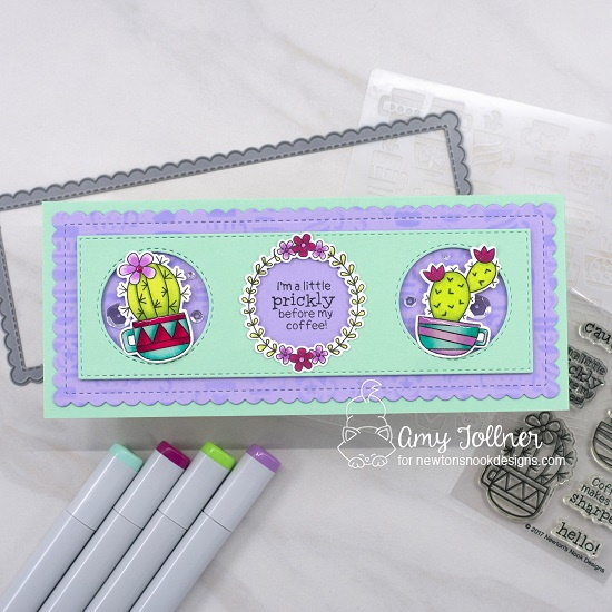I'm a little prickly before my coffee by Amy features Cuppa Cactus, Happy Little Thoughts, Slimline Frames & Portholes, and Mugs by Newton's Nook Designs; #inkypaws, #newtonsnook, #cardmaking