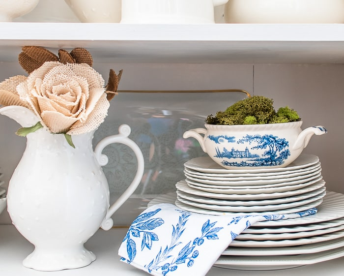 shelf styling with ironstone