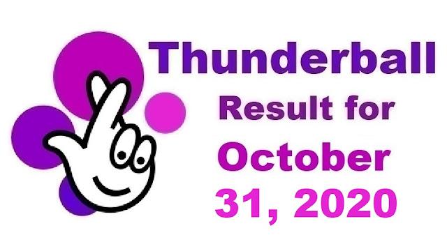 Thunderball Results for Saturday, October 31, 2020