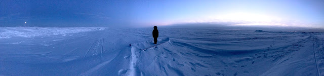 Point Barrow, Utqiaġvik (Barrow), Alaska: Frozen Boat in Frozen Arctic Ocean Ice (c) 2020 Supratim Sanyal