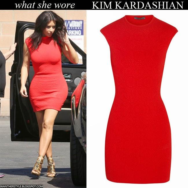 WHAT SHE WORE: Kim Kardashian in bright red mini dress in ...