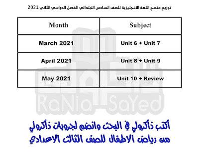 توزيع منهج اللغة الانجليزية للصف السادس الابتدائي 2021