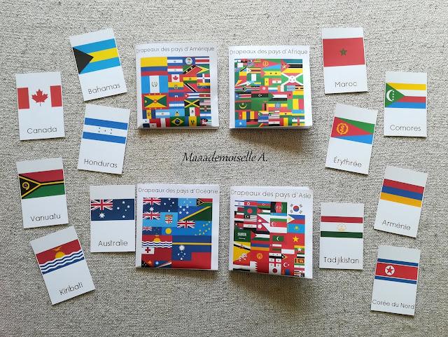 || Cartes de nomenclature : Nouveautés de juillet 2019 : Drapeaux des pays d'Amérique, d'Afrique, d'Océanie et d'Asie