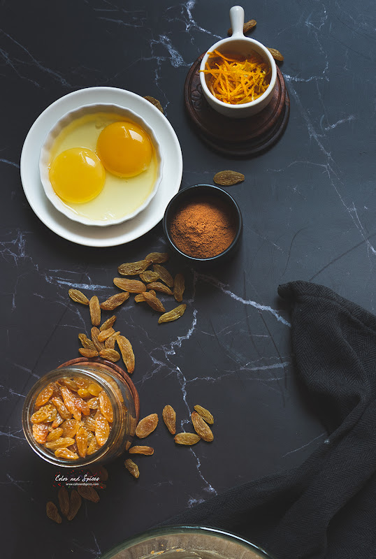 Rum raisin cake with orange glaze, ingredients