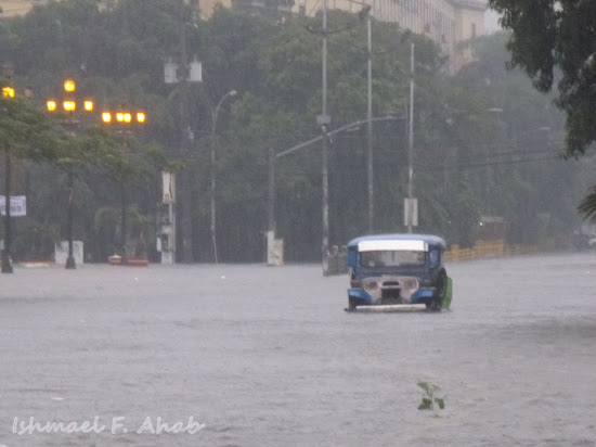 Jeepney stranded due to flood caused by habagat rains