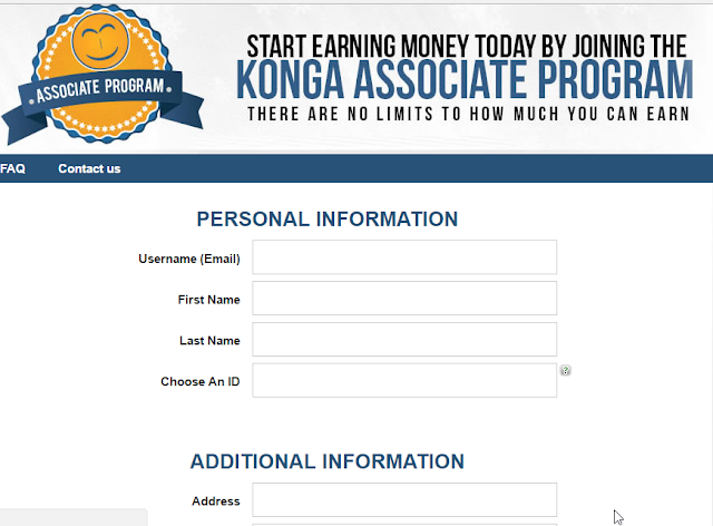 Konga Sign Up information page