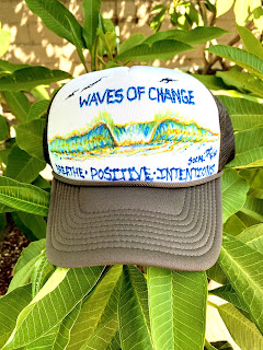 Painted hats by San Clemente surfboards by Paul Carter