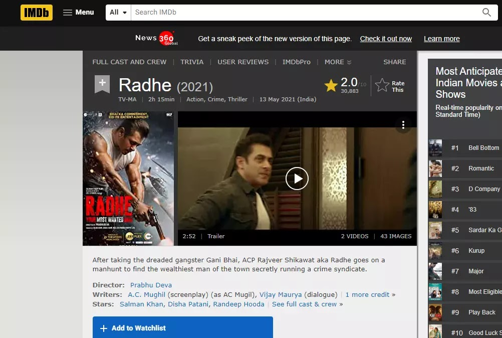 Radhe - Your Most Wanted Bhai movie review, box office collection