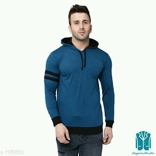 Men's Stylish Cotton Solid Hooded T-Shirts