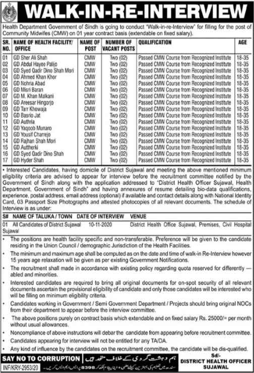 Health Jobs for Walk-In Interview Office of the District Health Officer Jobs 2020 | Salary 25K