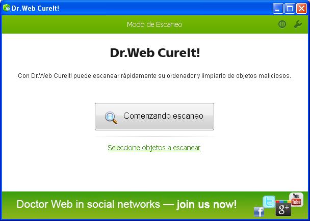 Pantalla principal Dr. Web