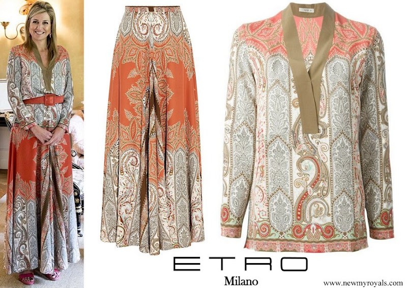 Queen Maxima wore Etro Multicolor Paisley Print Skirt and Blouse