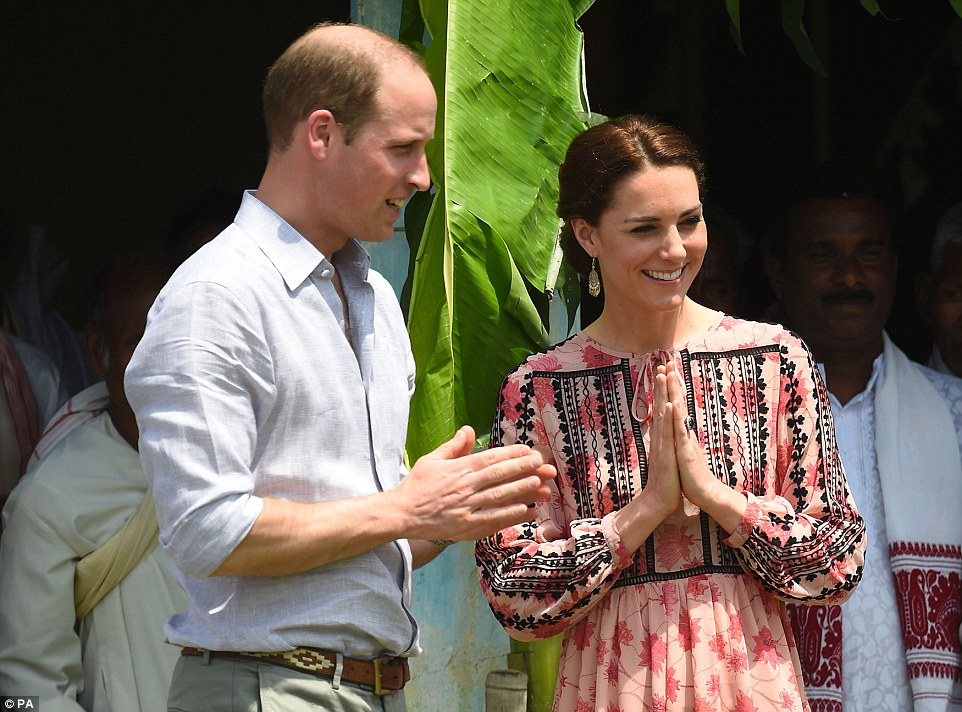 Kate opted for a Topshop embroidered smock dress in Assam, India