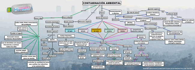 Mapa conceptual de la contaminación ambiental y sus tipos