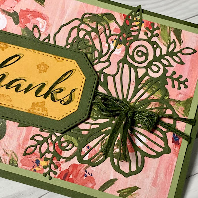 Close up of handmade greeting card highlighting Mossy Meadow die cut created with the Stampin' Up! Artistic Diesg die cut create