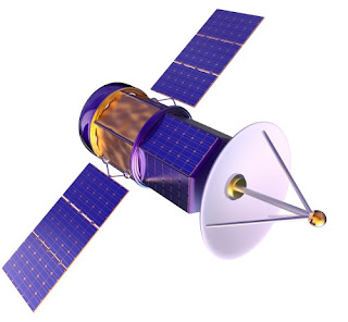 earth orbiting satellite used for process data communications