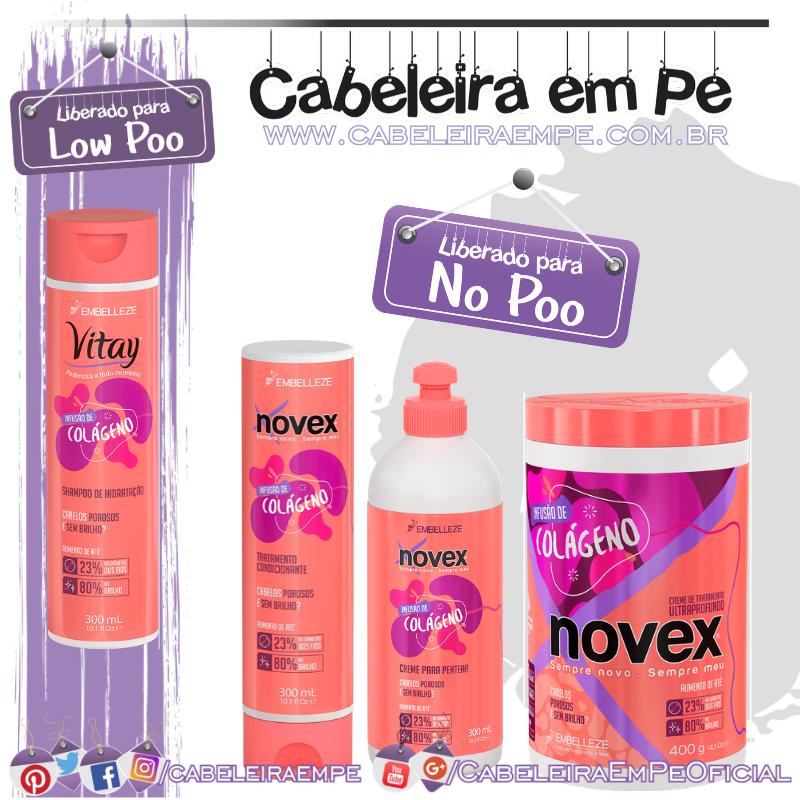 Shampoo Vitay (Low Poo) Condicionador, Creme de Tratamento e Creme para Pentear Infusão de Colágeno (liberados para No Poo) - Novex