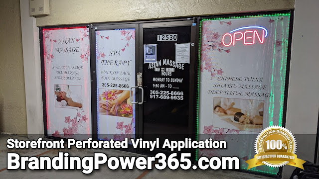 Storefront Perforated Vinyl Application for a Therapy Massage Spa in Miami - BrandingPower365.com; RJO Ventures, Inc.