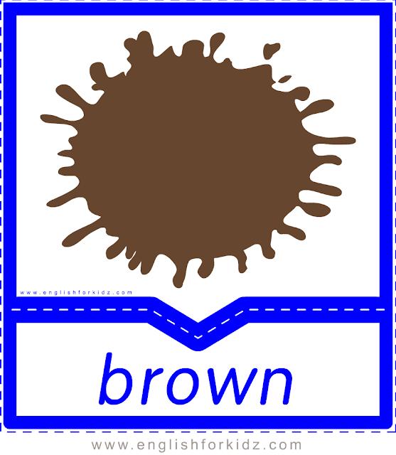 Printable colors flashcards - brown