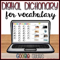 Digital Dictionary in Google Slides for vocabulary words. Turn your word wall into a digital word wall!