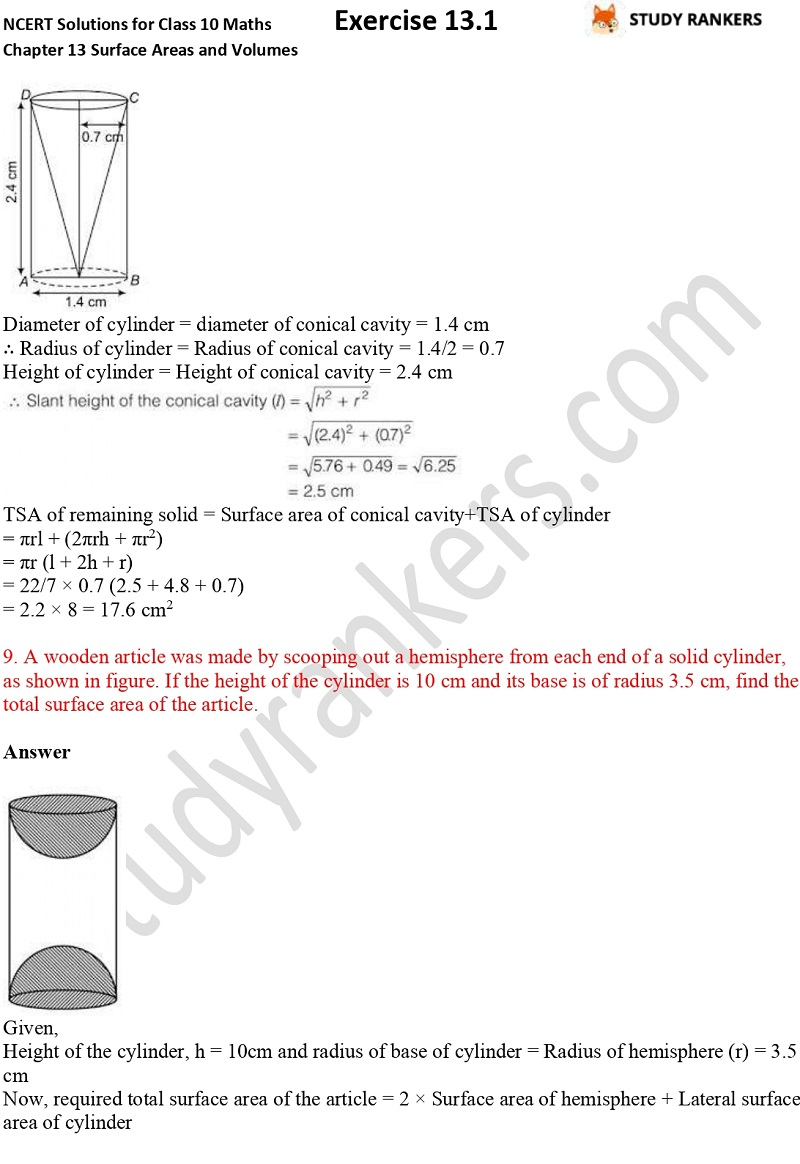 NCERT Solutions for Class 10 Maths Chapter 13 Surface Areas and Volumes Exercise 13.1 Part 6