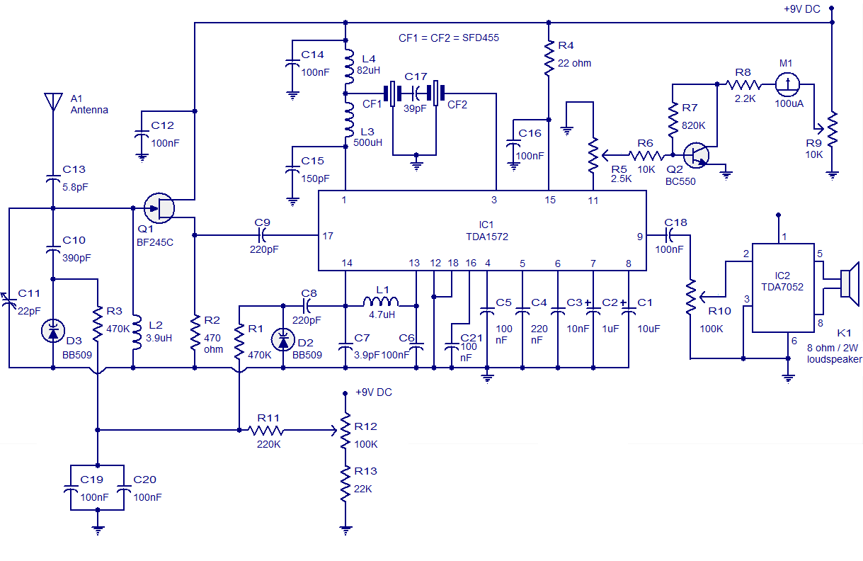 simple am receiver circuit diagram wiring of a car radio based on tda1572 ic electronic