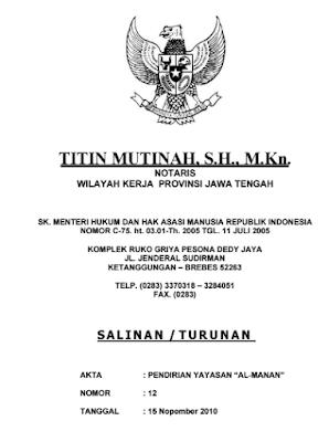 Contoh Akta Notaris Pendirian PAUD Terbaru