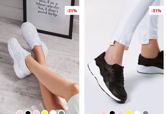Adidasi dama albi, negri cu talpa usoara din spuma moderni ieftini