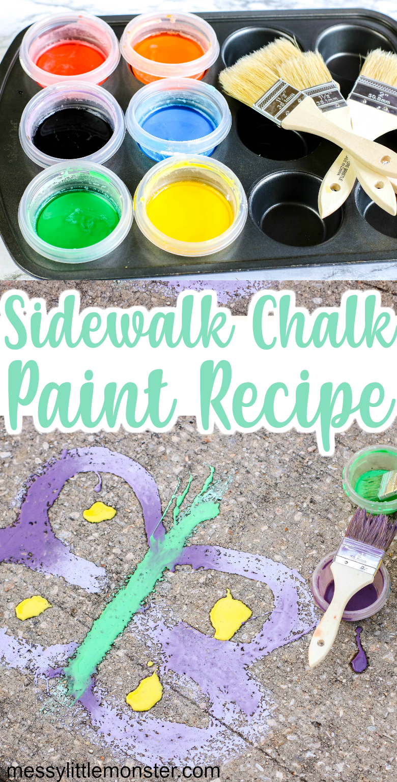 Homemade sidewalk chalk paint recipe. A fun and easy outdoor art idea for kids.