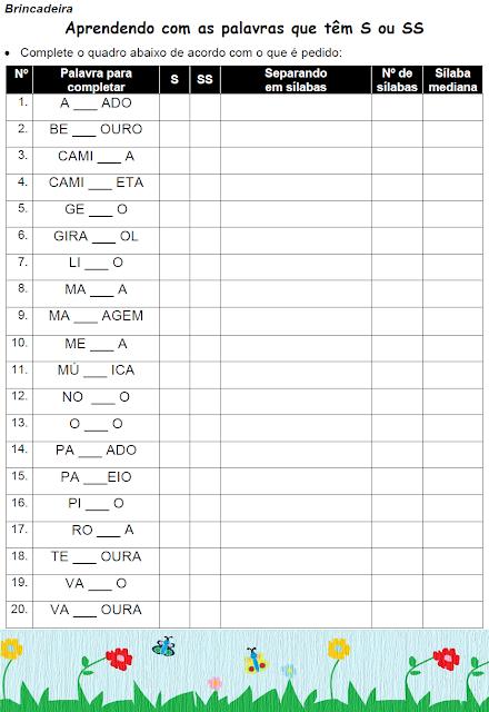 Atividades com palavras que têm S ou SS