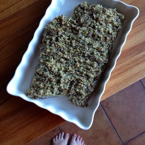 Seelachsfilet mit Champignon-Senfkruste