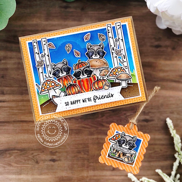 Sunny Studio Stamps: Fall Friends Home Sweet Gnome Scalloped Tag Dies Stitched Rectangle Dies Fall Themed Card by Mayra Duran-Hernandez
