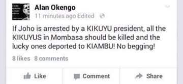 Allan Wadi Is Back? If UHURU Arrests Joho We Will Kill All Kikuyus- Social Media User Claims