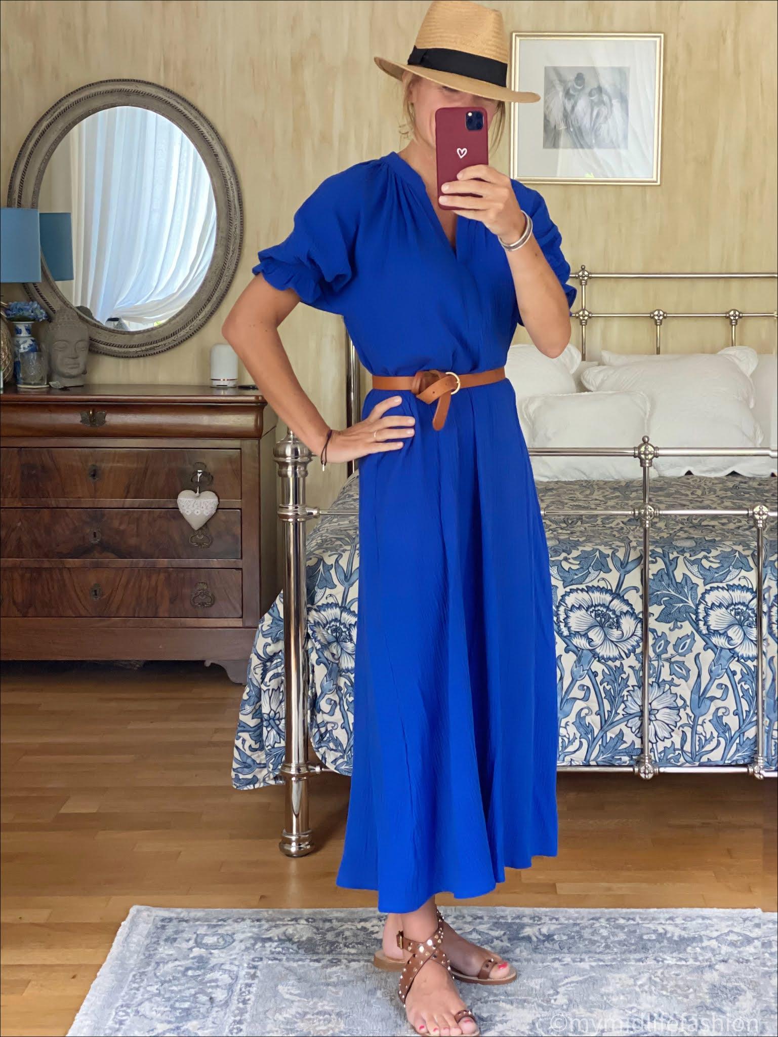 my midlife fashion, scarlet roos maxi dress, H&M Panama hat, Massimo Dutti leather belt, basalt studded sandals