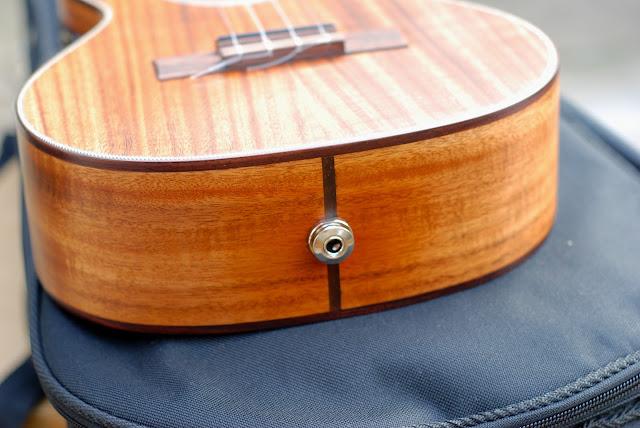 Kala All Solid Acacia Tenor ukulele jack socket