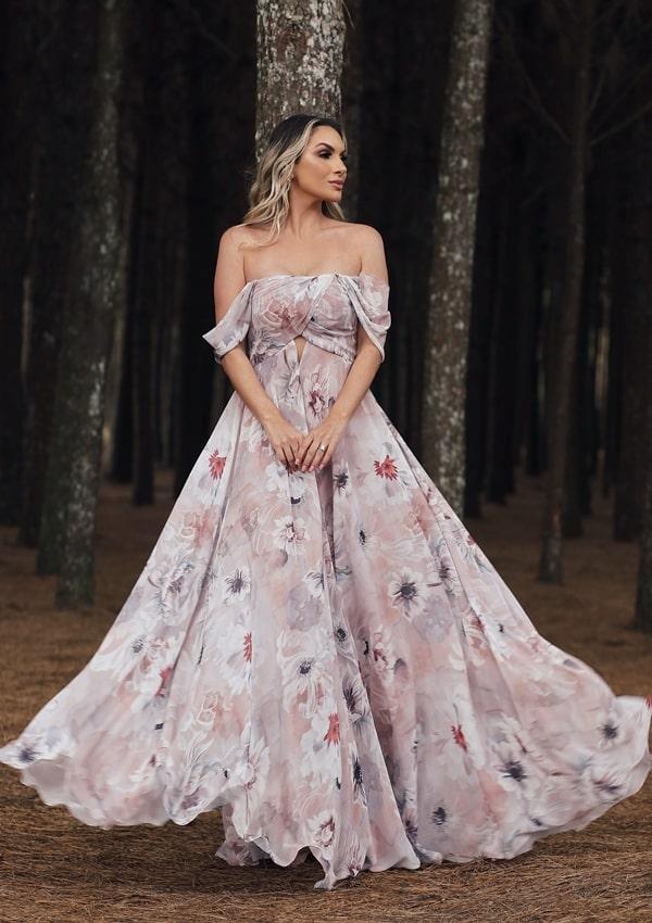 vestido longo floral para casamento