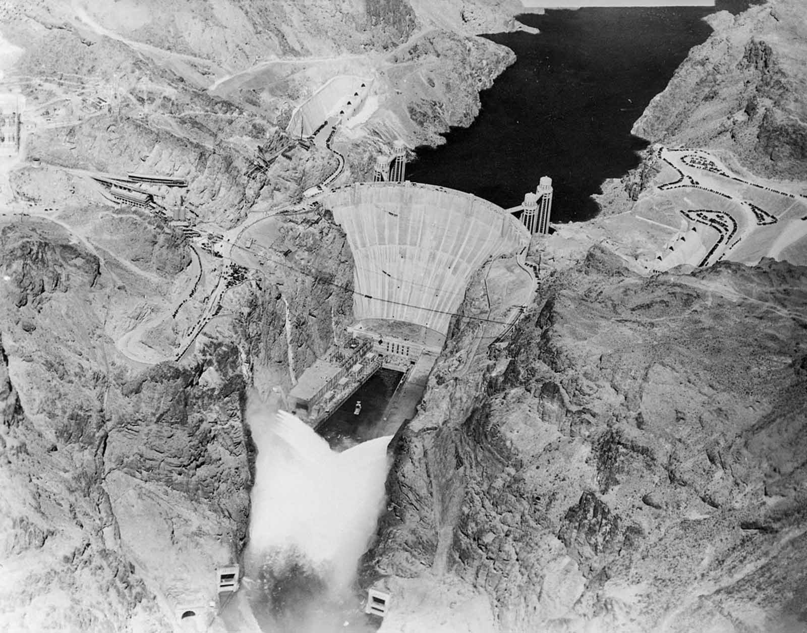 Hoover Dam was constructed between 1931 and 1936 during the Great Depression and was dedicated on September 30, 1935, by President Franklin D. Roosevelt.