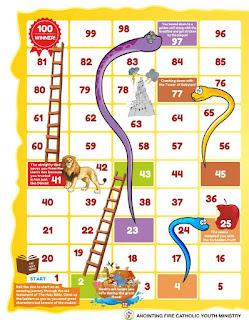 Snake and Ladder game board left side based on the old testament