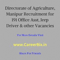 Directorate of Agriculture, Manipur Recruitment for 191 Office Asst, Jeep Driver, Mali, Peon, Chowkidar, Sweeper & other Vacancies