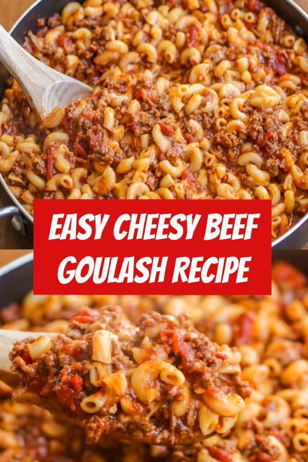 When you need an easy dinner recipe that will please the whole family, try whipping up some old fashioned goulash! Everyone loves this hodgepodge of macaroni noodles, ground beef, tomatoes, cheese, and seasonings! This easy goulash recipe is the perfect go-to for any night of the week. #dinner #easydinner #beef #groundbeef #goulash