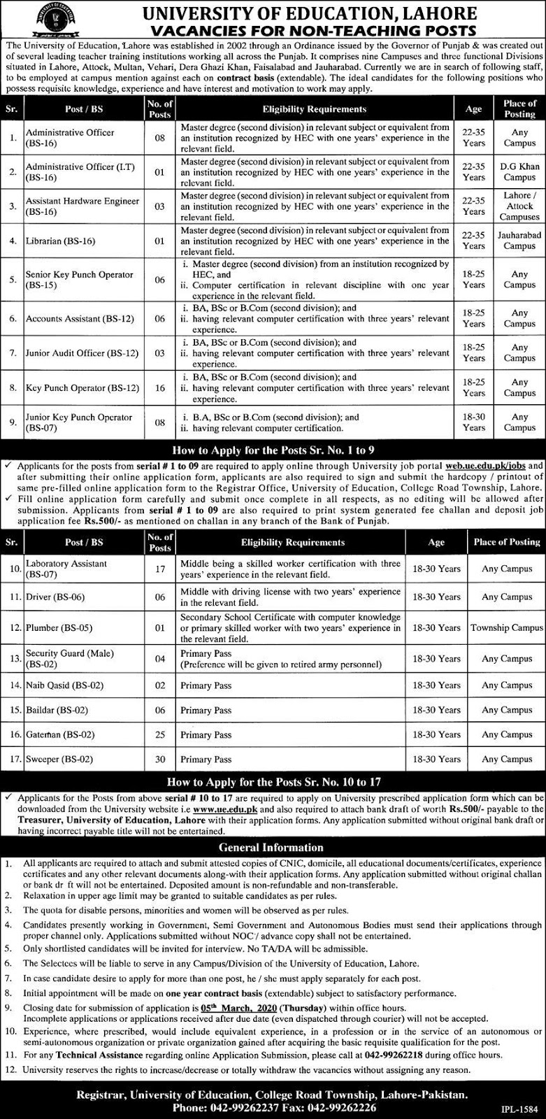 Jobs in University of Education Lahore 2020 Latest Advertisement